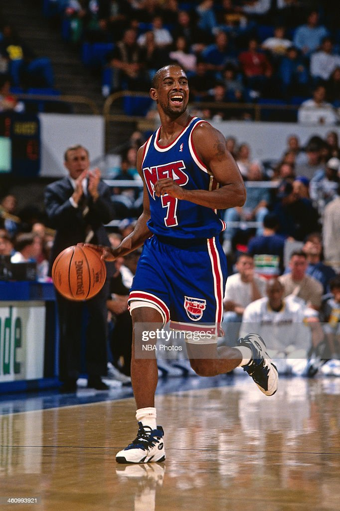 <a gi-track='captionPersonalityLinkClicked' href=/galleries/search?phrase=Kenny+Anderson+-+Basketballer&family=editorial&specificpeople=202155 ng-click='$event.stopPropagation()'>Kenny Anderson</a> #7 of the New Jersey Nets dribbles the ball during a game played circa 1996 at Oakland-Alameda County Coliseum in Oakland, California.