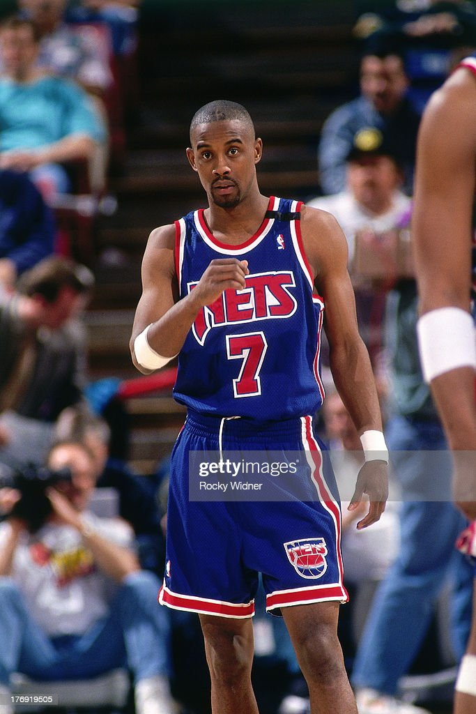 <a gi-track='captionPersonalityLinkClicked' href=/galleries/search?phrase=Kenny+Anderson+-+Basketballer&family=editorial&specificpeople=202155 ng-click='$event.stopPropagation()'>Kenny Anderson</a> #7 of the New Jersey Nets looks on against the Sacramento Kings during a game played on March 16, 1994 at Arco Arena in Sacramento, California.