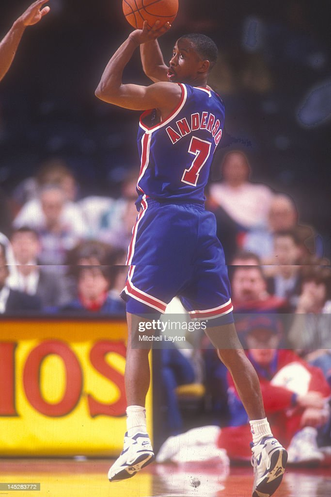 <a gi-track='captionPersonalityLinkClicked' href=/galleries/search?phrase=Kenny+Anderson+-+Basketballer&family=editorial&specificpeople=202155 ng-click='$event.stopPropagation()'>Kenny Anderson</a> #7 of the New Jersey Nets looks to take a jump shot during a basketball game against the Washington Bullets at the Capitol Centre on March 25 1991 in Landover , Maryland. The Bullets won 113-106.