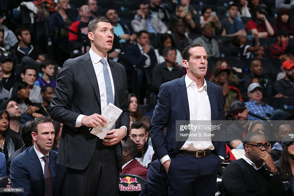 Kenny Atkinson Head Coach and Bret Brielmaier of the Brooklyn Nets coach during the game against the Sacramento Kings on November 27, 2016 at Barclays Center in Brooklyn, NY.