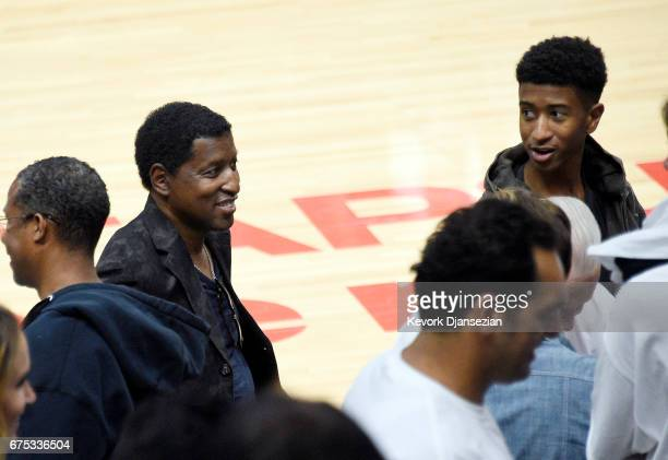 Kenny 'Babyface' Edmonds and his son Dylan Michael Edmonds attend Game Seven of the Western Conference Quarterfinals between the Los Angeles Clippers...