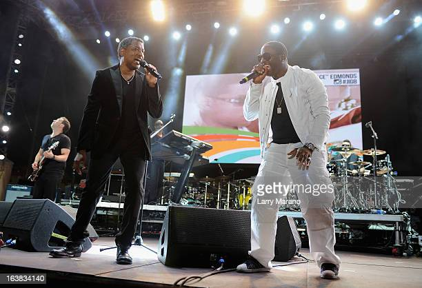 Kenny 'Babyface' Edmonds and Johnny Gill perform at the 8th Annual Jazz In The Gardens Day 1 at Sun Life Stadium presented by the City of Miami...