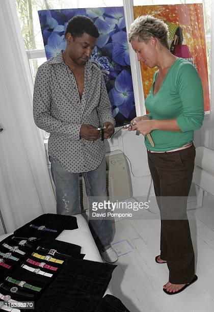 Kenny 'Babyface' Edmonds wearing Pippo Italia and Linda Gunn National Sales Director of Pippo Italia