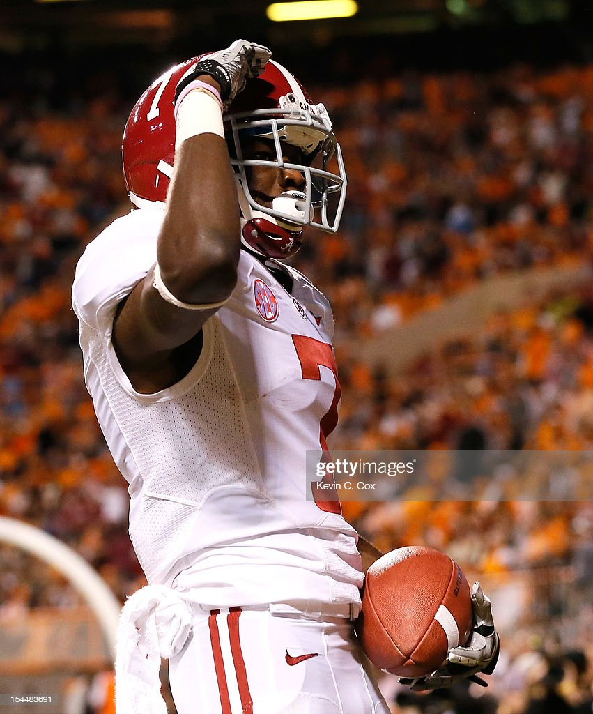 Kenny Bell #7 of the Alabama Crimson Tide reacts after scoring a touchdown against the Tennessee Volunteers at Neyland Stadium on October 20, 2012 in Knoxville, Tennessee.