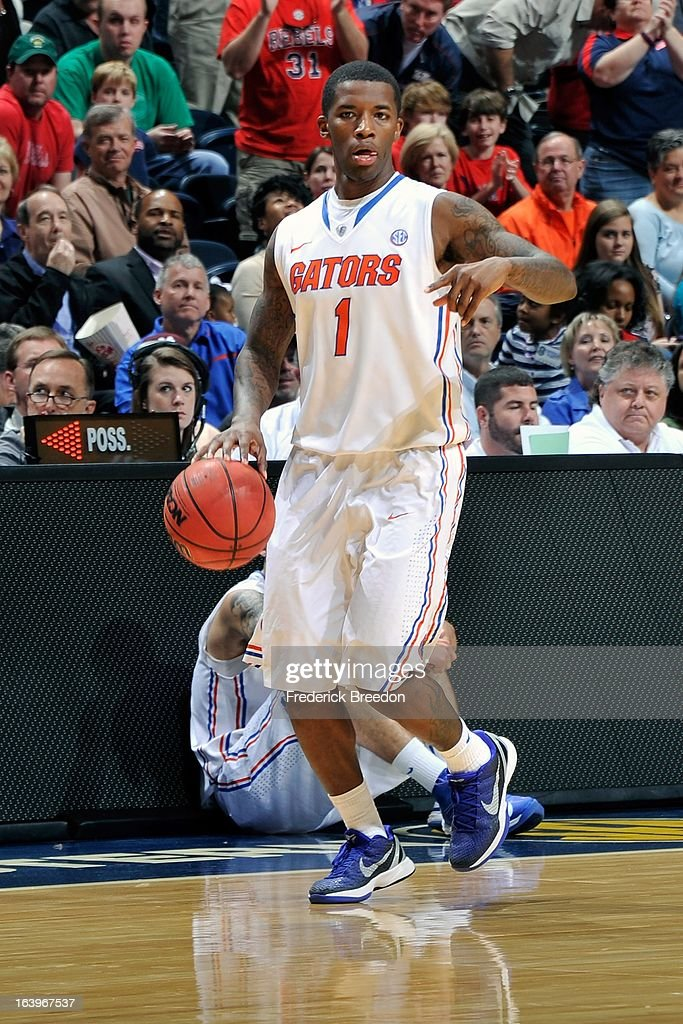 Kenny Boynton #1 of the Florida Gators plays against the Ole Miss Rebels during the SEC Baskebtall Tournament Championship Game at Bridgestone Arena on March 17, 2013 in Nashville, Tennessee.