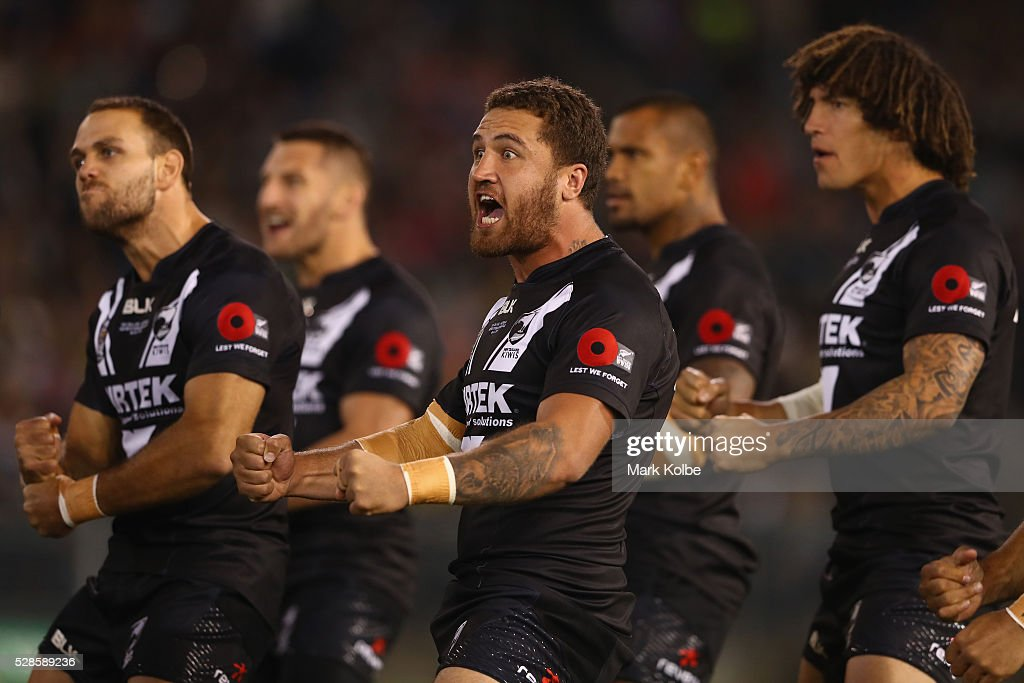 Kenny Bromwich of the Kiwis performs the Haka before the International Rugby League Trans Tasman Test match between the Australian Kangaroos and the New Zealand Kiwis at Hunter Stadium on May 6, 2016 in Newcastle, Australia.