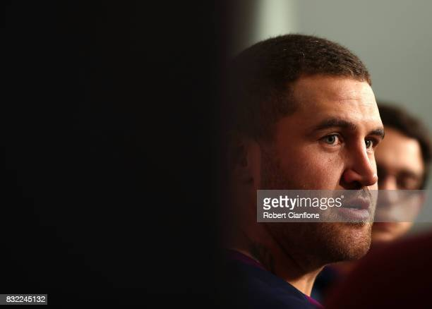 Kenny Bromwich of the Storm speaks to the media during a Melbourne Storm NRL media opportunity at AAMI Park on August 16 2017 in Melbourne Australia