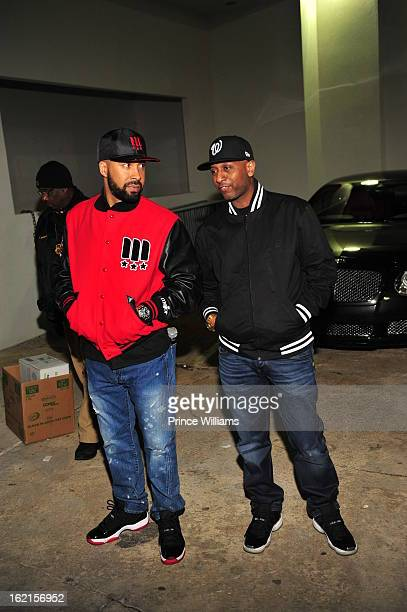 Kenny Burns and Alex Gidewon attend a party hosted by Bow Wow and Teyana Taylor at Compound on February 9 2013 in Atlanta Georgia