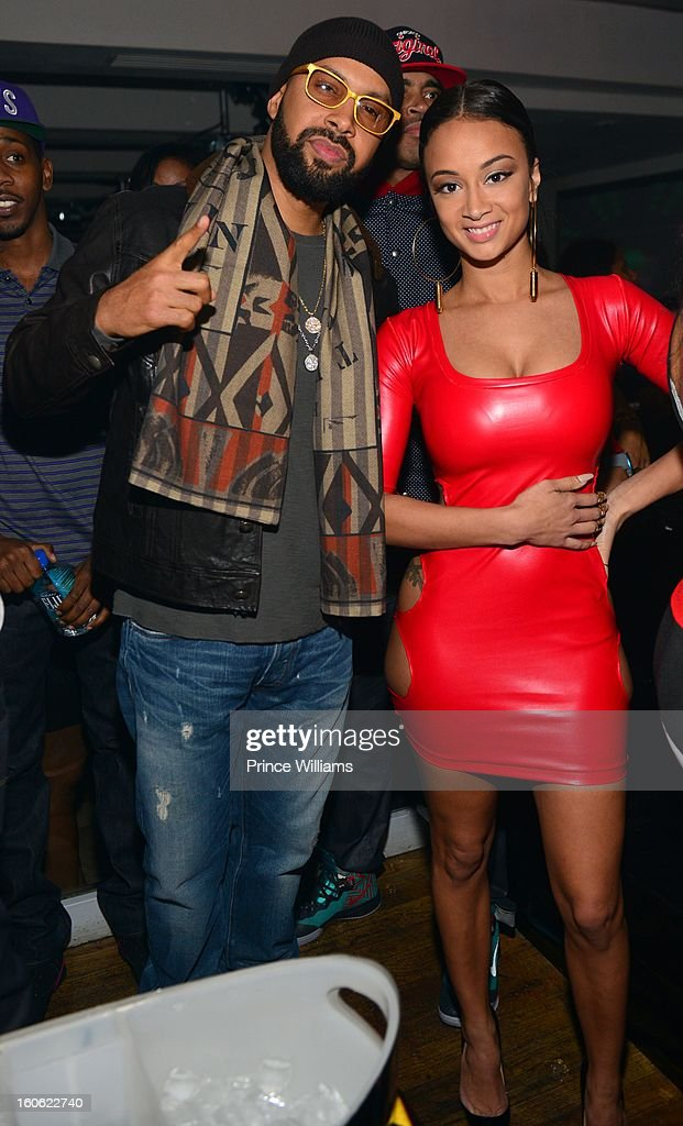 Kenny Burns and Draya Michele attend a party at Compound on February 2, 2013 in Atlanta, Georgia.