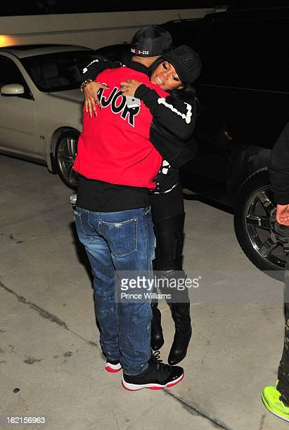 Kenny Burns and Teyana Taylor attend a party hosted by Bow Wow and Teyana Taylor at Compound on February 9 2013 in Atlanta Georgia