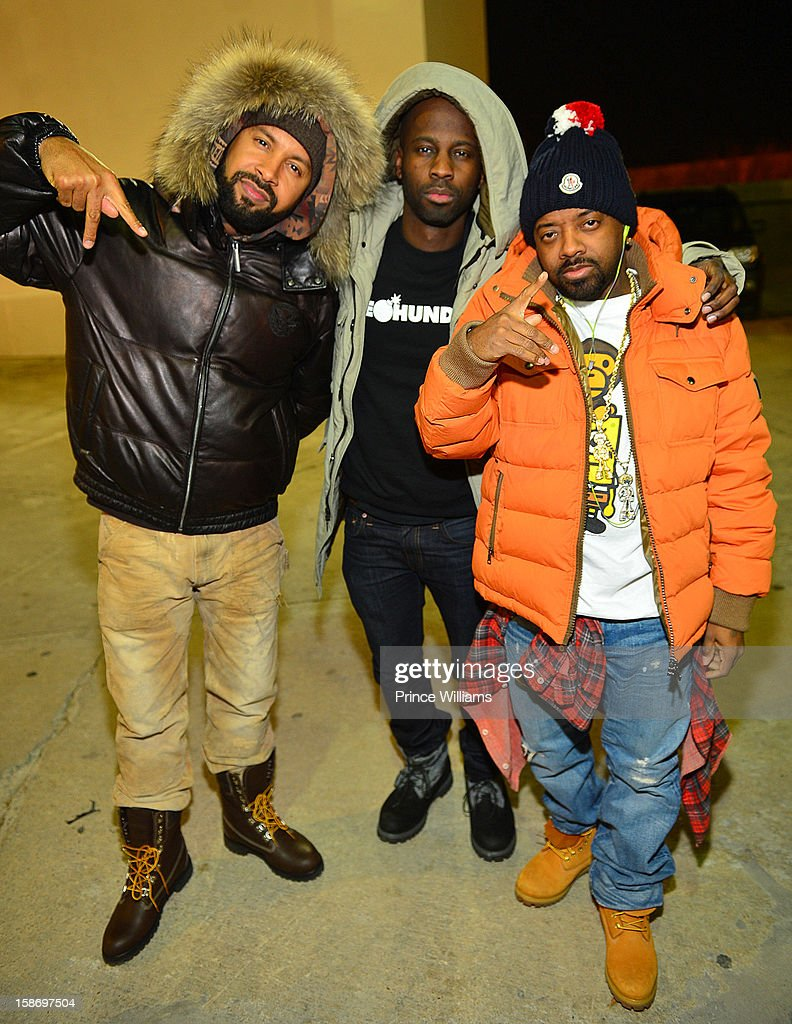 Kenny Burns, Bryan Michael Cox and Jermain Dupri attend T.I. 'Trouble Man Heavy Is The Head' Album Release Party at Compound on December 22, 2012 in Atlanta, Georgia.