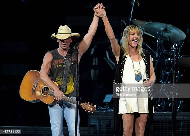 Kenny Chesney and Grace Potter perform onstage during Kenny Chesney's The Big Revival 2015 Tour kickoff for a 55 show run through August The...