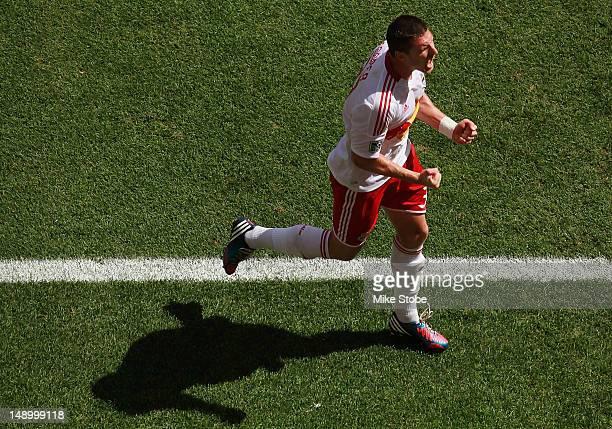 Kenny Cooper of the New York Red Bulls celebrates his first half goal against the Philadelphia Union at Red Bull Arena on July 21 2012 in Harrison...