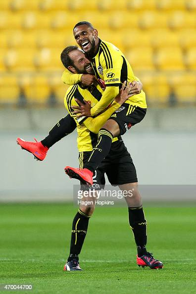 Kenny Cunningham of the Phoenix celebrates his goal with Andrew Durante during the round 26 ALeague match between the Wellington Phoenix and the...