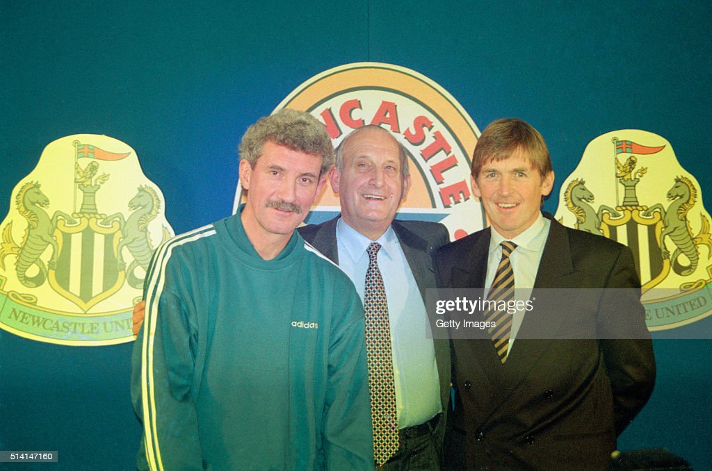 <a gi-track='captionPersonalityLinkClicked' href=/galleries/search?phrase=Kenny+Dalglish&family=editorial&specificpeople=221580 ng-click='$event.stopPropagation()'>Kenny Dalglish</a> faces the media as he is unveiled as the new manager of Newcastle United, replacing the recent resignation of Kevin Keegan, pictured alongside chairman Sir John Hall (c) and <a gi-track='captionPersonalityLinkClicked' href=/galleries/search?phrase=Terry+McDermott+-+Soccer+Manager&family=editorial&specificpeople=10083175 ng-click='$event.stopPropagation()'>Terry McDermott</a> at St Jame's Park on January 15, 1997 in Newcastle, England.