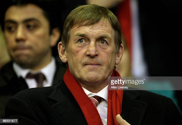 Kenny Dalglish looks on prior to the UEFA Europa League Quarter Final second leg match between Liverpool and Benfica at Anfield on April 8 2010 in...