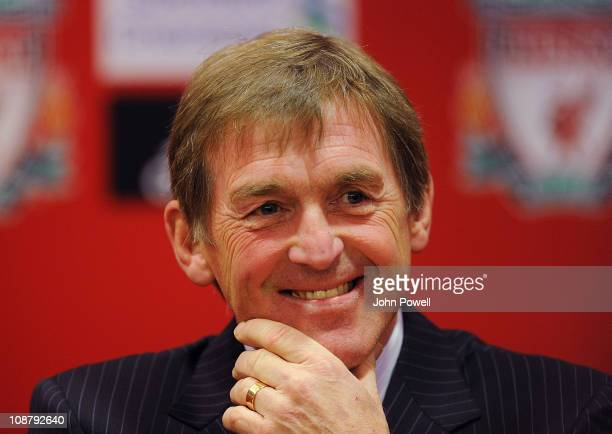 Kenny Dalglish manager of Liverpool smiles during a press conference at Anfield on February 3 2011 in Liverpool England