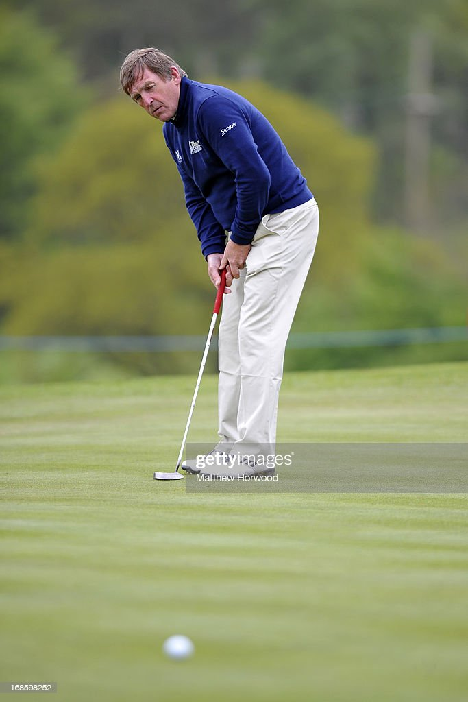 Kenny Dalglish narrowly misses a putt at the Celebrity Golf Club Live event at Celtic Manor Resort on May 12, 2013 in Newport, Wales.