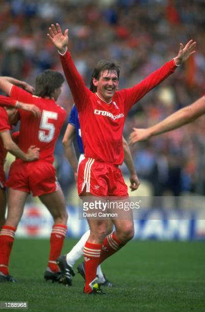 Kenny Dalglish of Liverpool celebrates during the FA Cup final against Everton at Wembley Stadium in London Liverpool won the match 31 Mandatory...