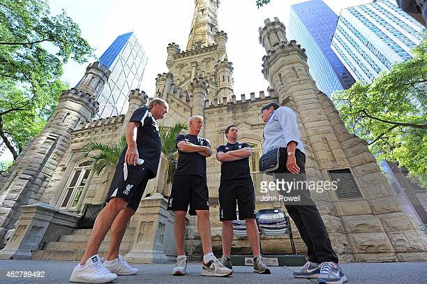 Kenny Dalglish Robbie Fowler and Ian Rush Liverpool FC Legendswith Mary Jo Hoag from the Chicargo Architecture Foundation on a Visit to the Chicago...