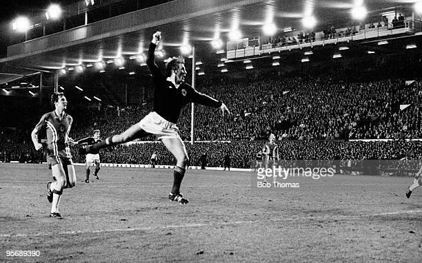 Kenny Dalglish scores Scotland's second goal against Wales in their World Cup Qualiyfing match played at Anfield in Liverpool 12th October 1977...