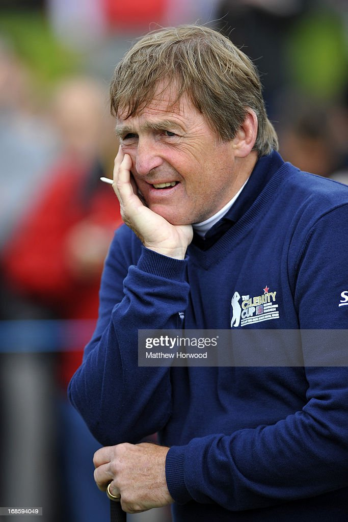 Kenny Dalglish waits to tee off at the Celebrity Golf Club Live event at Celtic Manor Resort on May 12, 2013 in Newport, Wales.