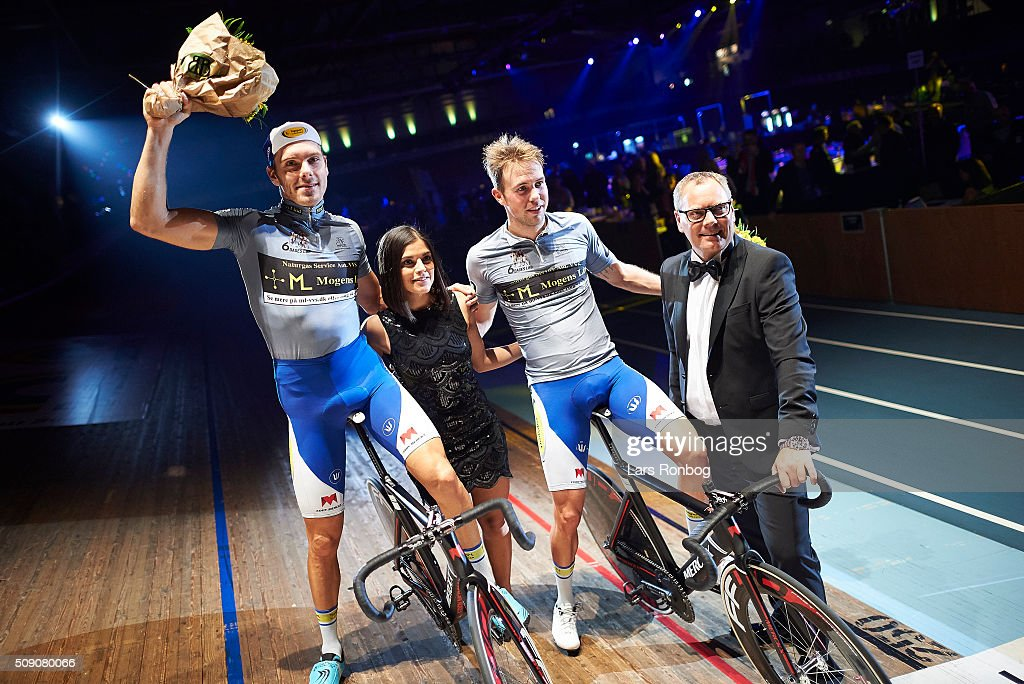 Kenny De Ketele and Moreno De Pauw celebrate leading the race after day five at the Copenhagen Six Days Race Cycling at Ballerup Super Arena on February 8, 2016 in Ballerup, Denmark.