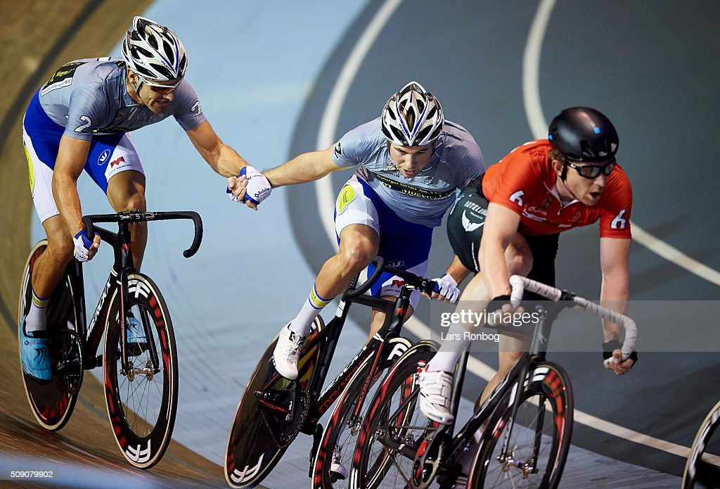 Kenny De Ketele and Moreno De Pauw in action during day five at the Copenhagen Six Days Race Cycling at Ballerup Super Arena on February 8, 2016 in Ballerup, Denmark.
