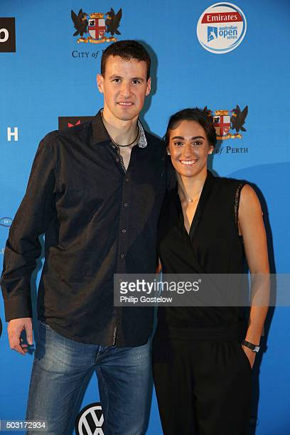 Kenny De Schepper and Caroline Garcia arrive at the 2016 Hopman Cup Player Party at Perth Crown on January 2 2016 in Perth Australia