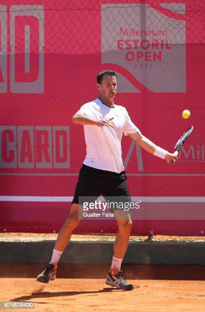 Kenny De Schepper in action during the match between Kenny De Schepper from France and Tristan Lamasine from France for Millennium Estoril Open at...