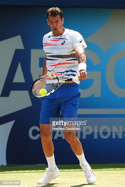 Kenny De Schepper of France in action against Feliciano Lopez of Spain during their Men's Singles match on day four of the Aegon Championships at...