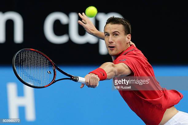 Kenny De Schepper of France plays a backhand in the men's single match against Nick Krygios of Australia Green during day six of the 2016 Hopman Cup...