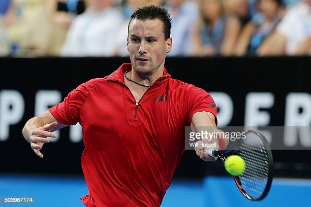 Kenny De Schepper of France plays a forehand in the men's single match against Nick Krygios of Australia Green during day six of the 2016 Hopman Cup...