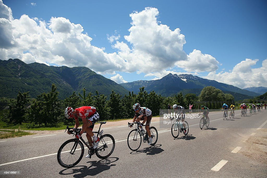 Kenny Dehaes of Belgium and Lotto Belisol rides at the front of the peloton during the seventeenth stage of the 2014 Giro d'Italia, a 208km stage between Sarnonico and Vittorio Veneto on May 28, 2014 in Vittorio Veneto, Italy.