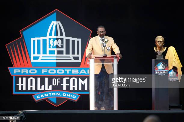 Kenny Easley speaks during the Pro Football Hall of Fame Enshrinement Ceremony at Tom Benson Hall of Fame Stadium on August 5 2017 in Canton Ohio