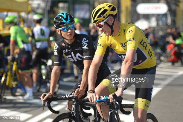 Kenny ELISSONDE and Christopher FROOME ahead of the start to 589km Main Race of the 5th edition of TDF Saitama Criterium 2017 On Saturday 4 November...