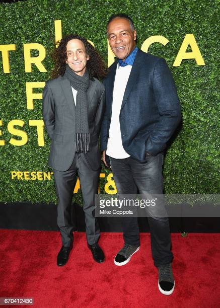 Kenny G and Ray Parker Jr attend the 'Clive Davis The Soundtrack Of Our Lives' Premiere at Radio City Music Hall on April 19 2017 in New York City