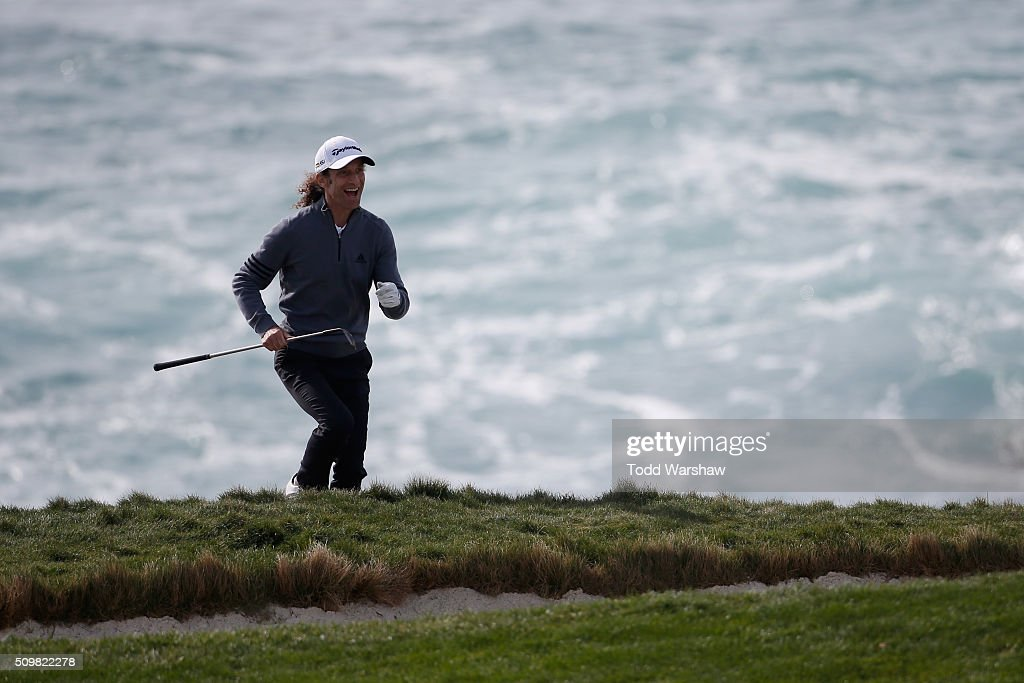 <a gi-track='captionPersonalityLinkClicked' href=/galleries/search?phrase=Kenny+G&family=editorial&specificpeople=211357 ng-click='$event.stopPropagation()'>Kenny G</a> reacts after playing a shot from the bunker on the seventh hole during the second round of the AT&T Pebble Beach National Pro-Am at the Pebble Beach Golf Links on February 12, 2016 in Pebble Beach, California.