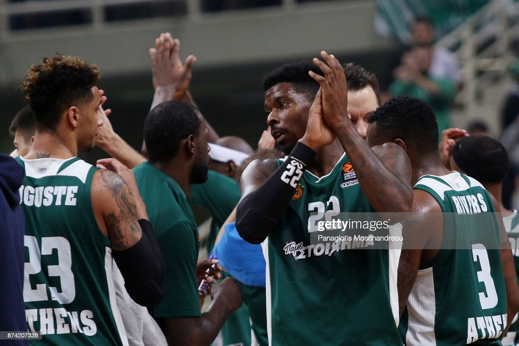Kenny Gabriel, #22 of Panathinaikos Superfoods Athens react during the 2017/2018 Turkish Airlines EuroLeague Regular Season Round 7 game between Panathinaikos Superfoods Athens and Khimki Moscow Region at Olympic Sports Center Athens on November 14, 2017 in Athens, Greece.