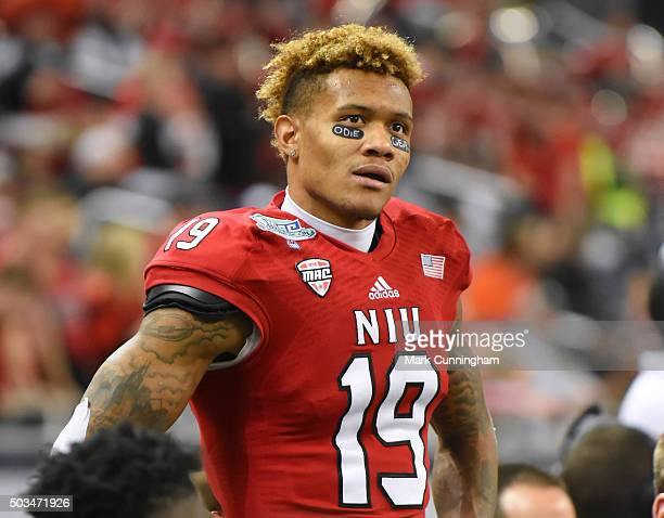 Kenny Golladay of the Northern Illinois Huskies looks on from the sidelines during the 2015 MAC Championship game against the Bowling Green Falcons...