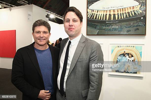 Kenny Goss and Art Los Angeles contemporary director Tim Fleming attend the Art Los Angeles Contemporary 2017 opening night at Barker Hangar on...