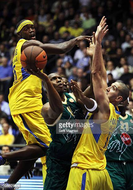 Kenny Gregory #9 of Union Olimpija in action during the 20102011 Turkish Airlines Euroleague Top 16 Date 3 game between Maccabi Electra Tel Aviv vs...