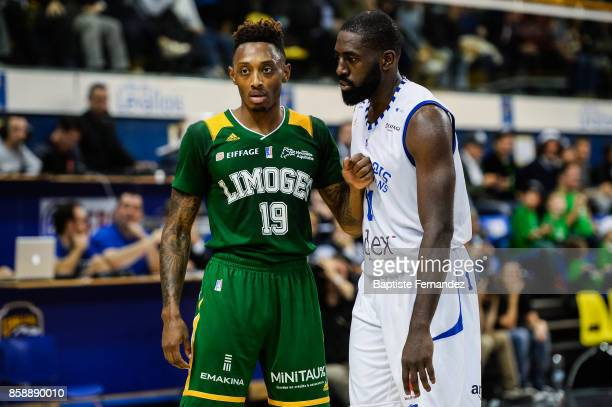Kenny Hayes of Limoges and Daniel Nwaelele of Levallois during the Pro A match between Levallois and Limoges on October 7 2017 in LevalloisPerret...