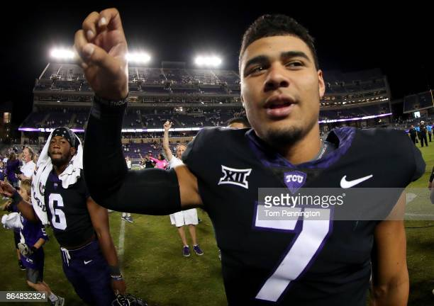Kenny Hill of the TCU Horned Frogs celebrates after the TCU Horned Frogs beat the Kansas Jayhawks 430 at Amon G Carter Stadium on October 21 2017 in...