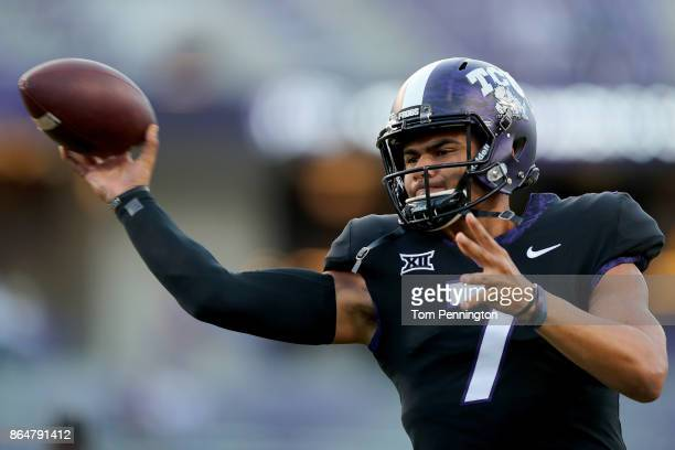 Kenny Hill of the TCU Horned Frogs works through pregame warm up before taking on the Kansas Jayhawks at Amon G Carter Stadium on October 21 2017 in...