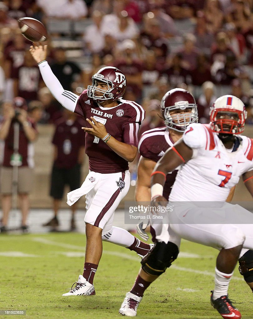Kenny Hill #7 of the Texas A&M Aggies completes a pass against the Southern Methodist Mustangs in the second half on September 21, 2013 at Kyle Field in College Station, Texas.