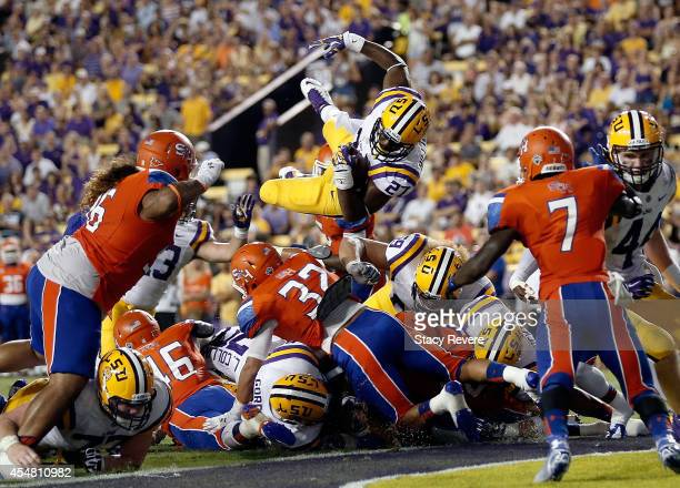Kenny Hilliard of the LSU Tigers scores on the twopoint conversion during the second quarter against the Sam Houston State Bearkats at Tiger Stadium...