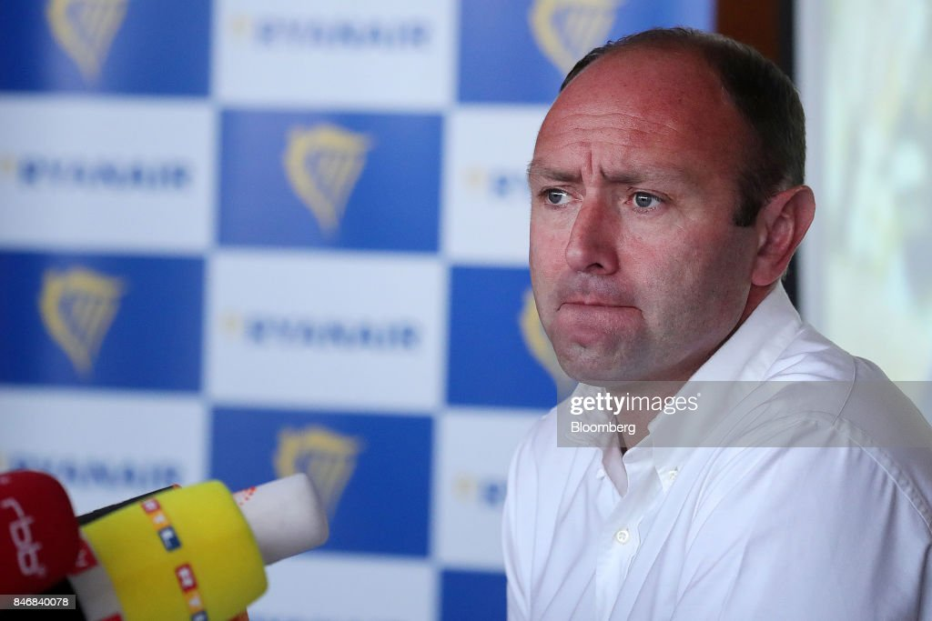 Kenny Jacobs, chief marketing officer of Ryanair Holdings Plc, pauses during a news conference at Tegel airport in Berlin, Germany, on Thursday, Sept. 14, 2017. Ryanair Holdings Plcshares fell more than 4.4 percent after the European Unions top court ruled the airline could face employee lawsuits wherever cabin crew are based, paving the way for a flurry of claims outside of Ireland and a possible increase in employment costs. Photographer: Krisztian Bocsi/Bloomberg via Getty Images