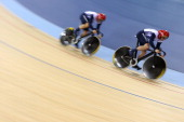 Kenny Jason and Sir Chris Hoy of Great Britain compete in the Men's Team Sprint Track Cycling Qualifying on Day 6 of the London 2012 Olympic Games at...