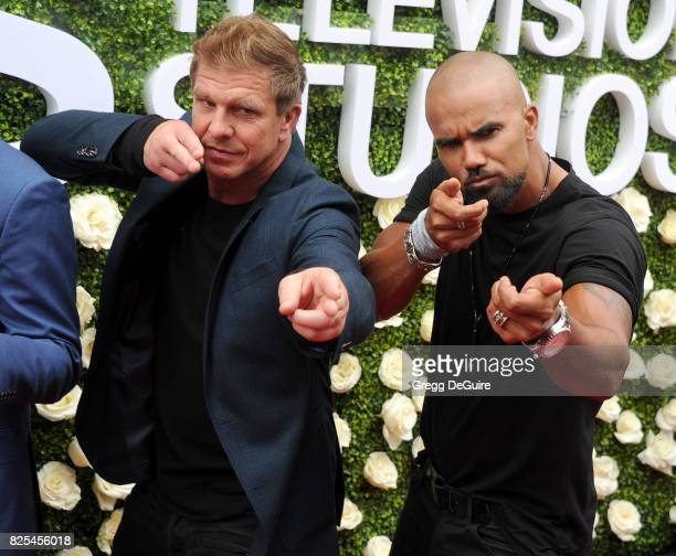 Kenny Johnson and Shemar Moore arrive at the 2017 Summer TCA Tour CBS Television Studios' Summer Soiree at CBS Studios Radford on August 1 2017 in...